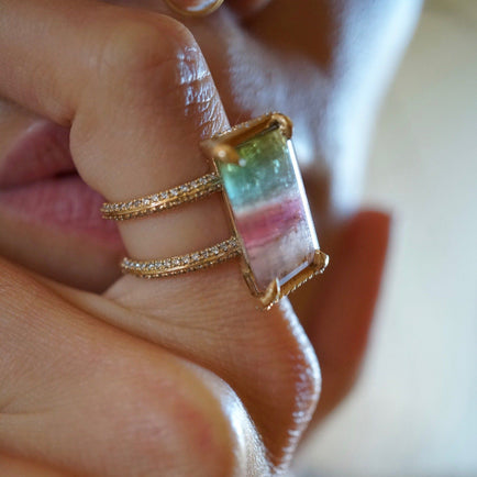 Tri-Color Double Diamond Band Ring Bayou with Love