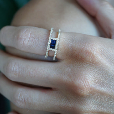 Triple Sapphire Baguette and Diamond Band Jewelry Bayou with Love
