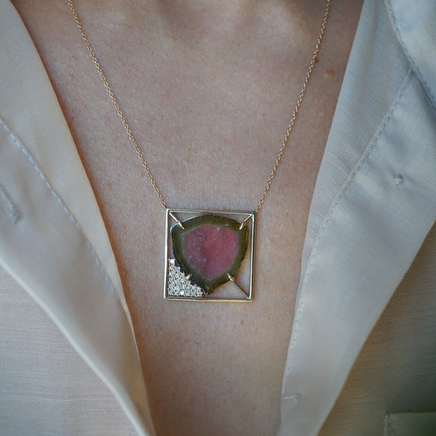 Tourmaline Slice and Diamond Frame Necklace Bayou with Love