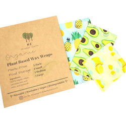 Plant Based Wax Food Wraps 3-pack Home Me Mother Earth