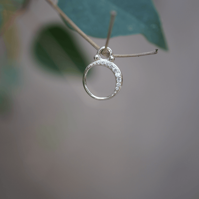 Diamond Crescent Moon Charm Bayou with Love