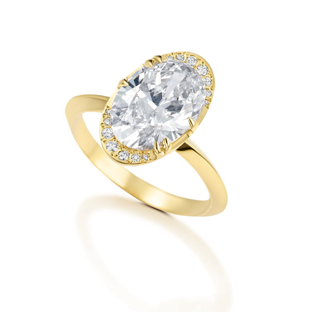 Diamond Oval Lunar Engagement Ring Bridal Jewelry Bayou with Love