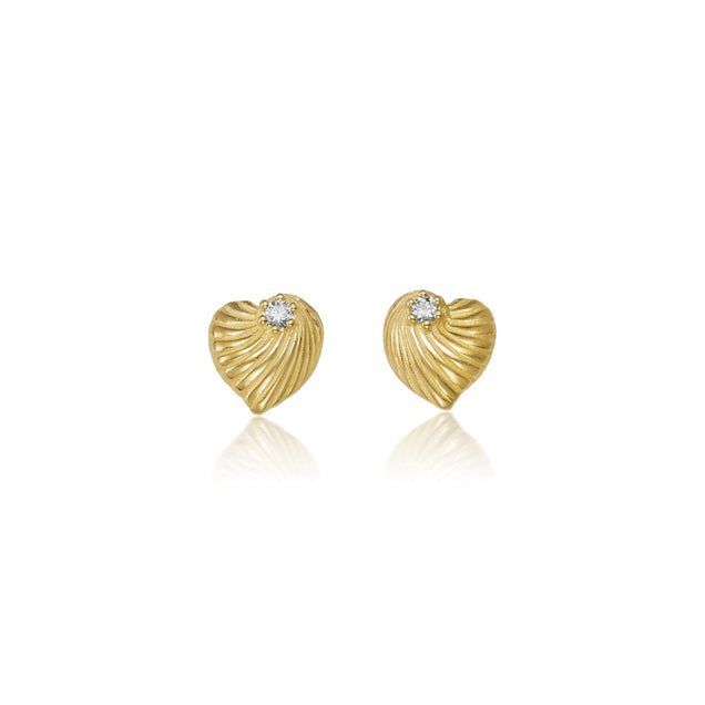 Mini Diamond Heart Shell Studs Jewelry Bayou with Love