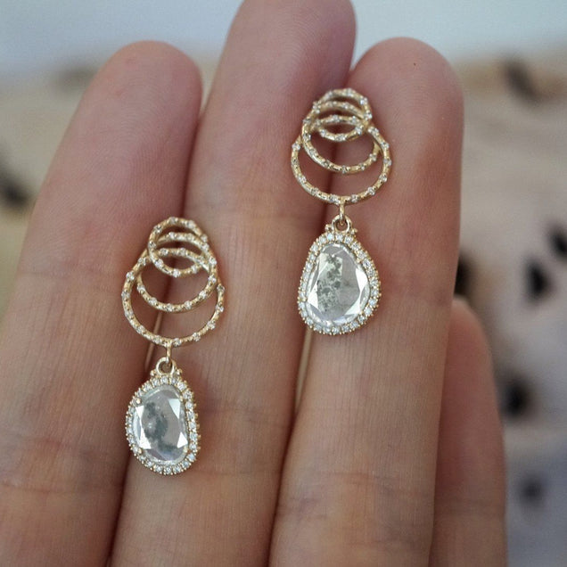 Salt and Pepper Diamond Nest Egg Drop Earrings Bespoke Jewelry Bayou with Love
