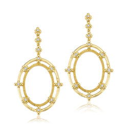Diamond Oval Rattan Earrings Jewelry Bayou with Love