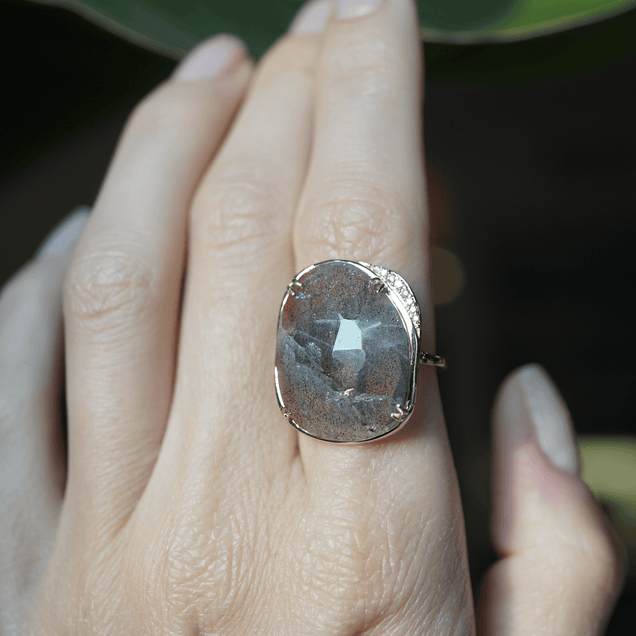 Labradorite Lunar Ring Bespoke Jewelry Bayou with Love