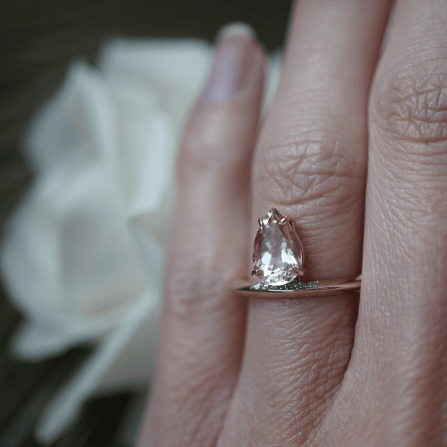 Peach Pear and Diamond Band Bridal Jewelry Bayou with Love