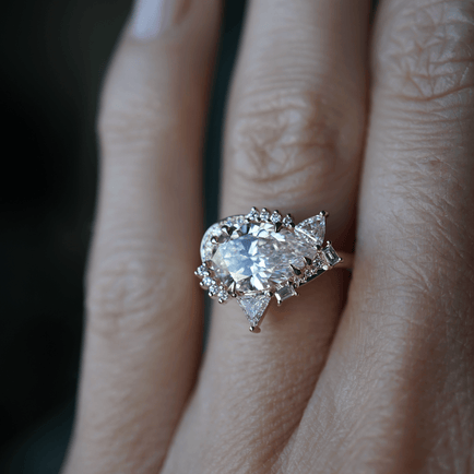 Diamond Pear Cluster Engagement Ring Bayou with Love