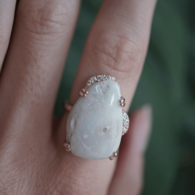 Large Opal Lunar Ring Bespoke Jewelry Bayou with Love