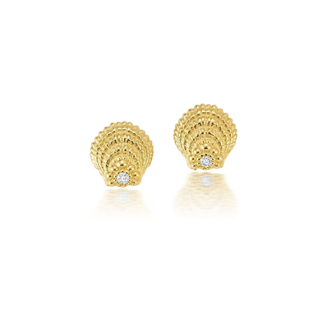 Diamond Sunrise Shell Studs Jewelry Bayou with Love