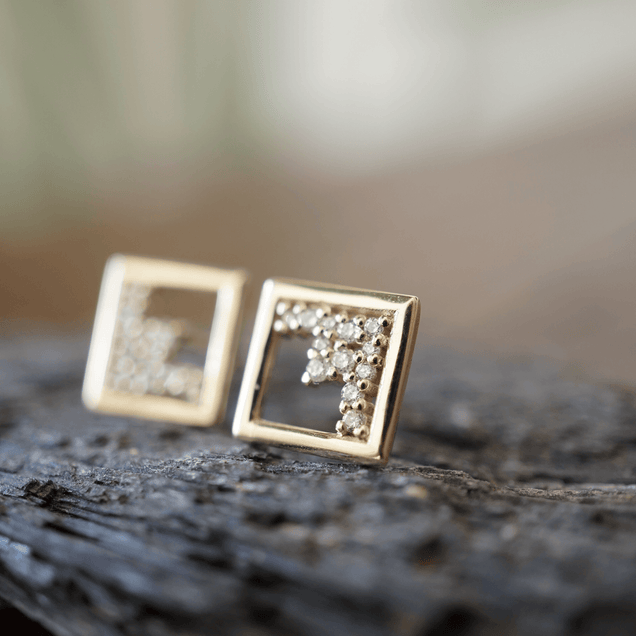 Floating Diamond Frame Studs Bayou with Love