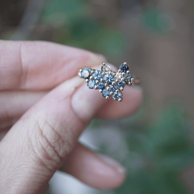 Mint & Blue Sapphire Cluster Ring Jewelry Bayou with Love
