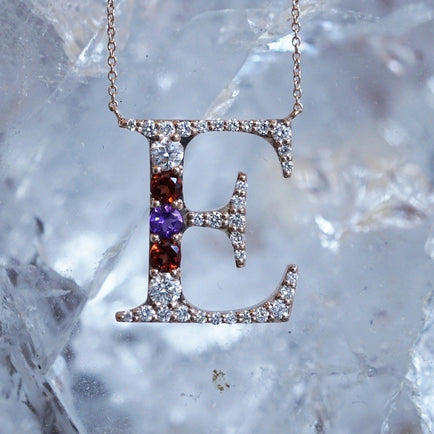 Birthstone Initial Necklace Personalized Jewelry Bayou with Love
