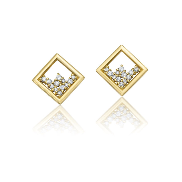 Floating Diamond Frame Studs Jewelry Bayou with Love