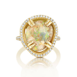Opal Diamond Halo Ring Bespoke Jewelry Bayou with Love