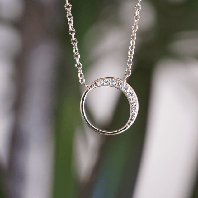 Diamond Crescent Moon Necklace Bayou with Love