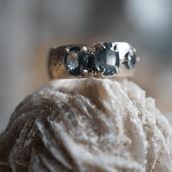 Mint Sapphire Cigar Band Bridal Jewelry Bayou with Love
