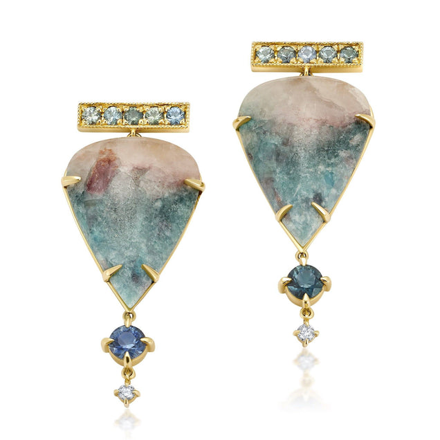 Paraiba Tourmaline and Diamond Earrings Bespoke Jewelry Bayou with Love