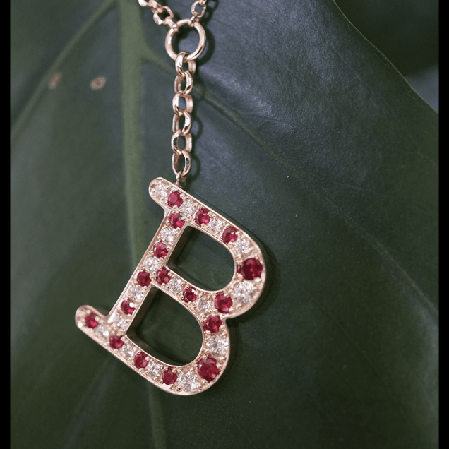 Ruby Diamond Initial Necklace Personalized Jewelry Bayou with Love