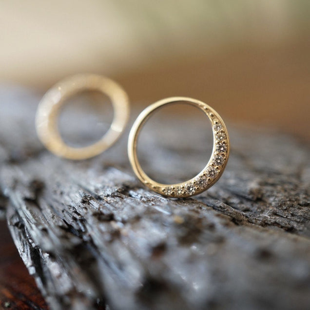 Diamond Crescent Moon Studs Bayou with Love