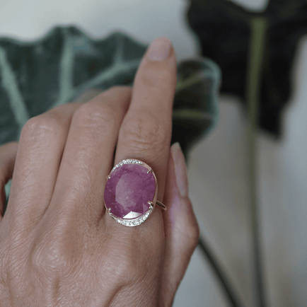 Full Moon Ruby Ring Bespoke Jewelry Bayou with Love