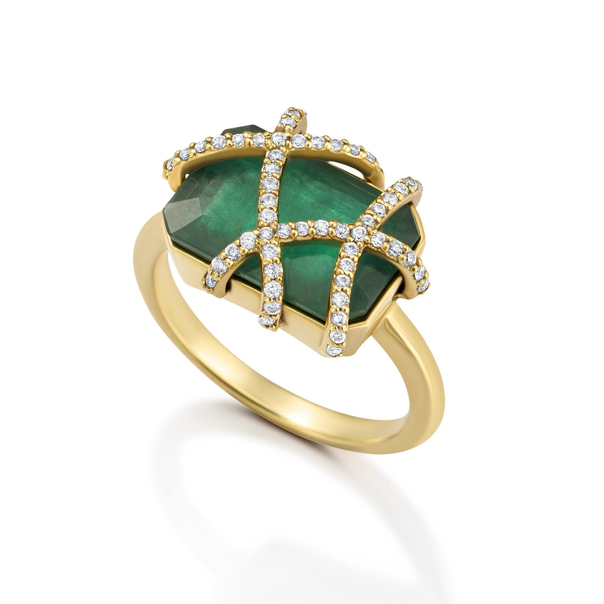 EMERALD CAGE RING Bespoke Jewelry Bayou with Love