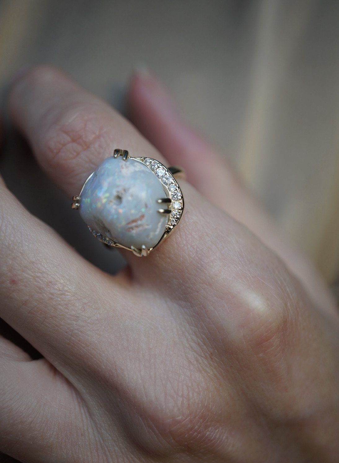 Full Moon Opal Ring Bespoke Jewelry Bayou with Love