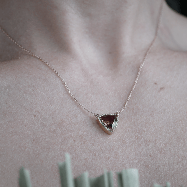 Scarlet Tourmaline and Diamond Necklace Bayou with Love