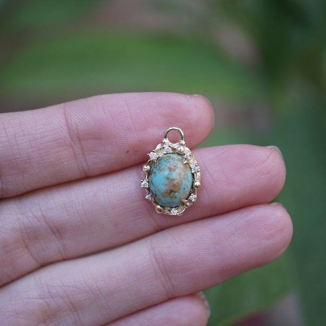 Diamond turquoise oval Bayou with Love