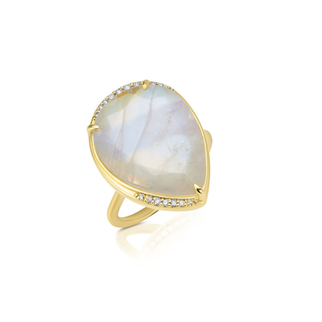 Diamond Moonstone Pear Lunar Ring Bespoke Jewelry Bayou with Love