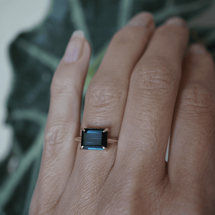 East West Blue Tourmaline Ring Bespoke Jewelry Bayou with Love