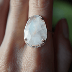 Rainbow Moonstone Lunar Ring Bespoke Jewelry Bayou with Love