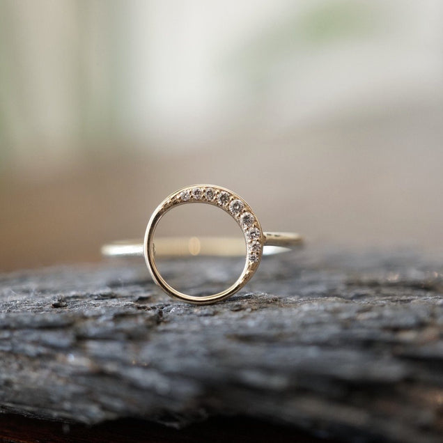 Diamond Crescent Moon Ring Bayou with Love