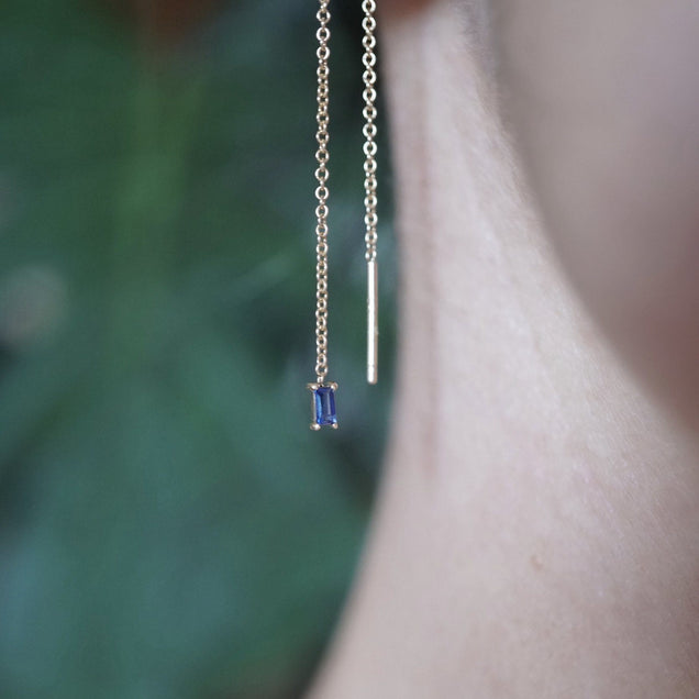 SAPPHIRE BAGUETTE THREADER EARRING Jewelry Bayou with Love