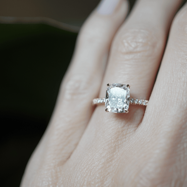 Hidden Halo Cushion Cut Engagement Ring Bridal Jewelry Bayou with Love