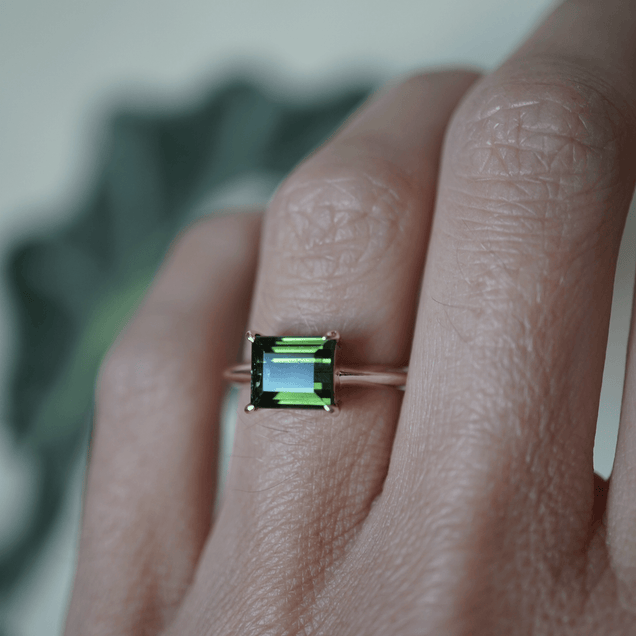 East West Green Tourmaline Ring Bespoke Jewelry Bayou with Love