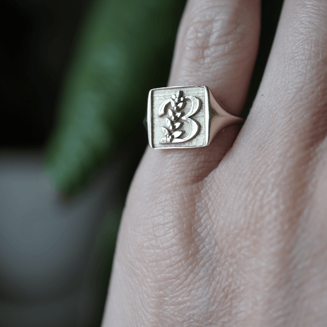 Gold Initial Pinky Ring Personalized Jewelry Bayou with Love