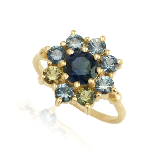 Sapphire Sunflower Ring Jewelry Bayou with Love