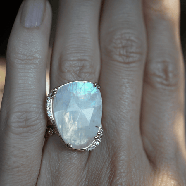 Lunar Moonstone Ring Bespoke Jewelry Bayou with Love