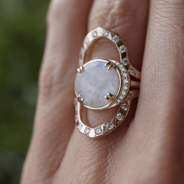 Round Moonstone Lunar Ring Bespoke Jewelry Bayou with Love