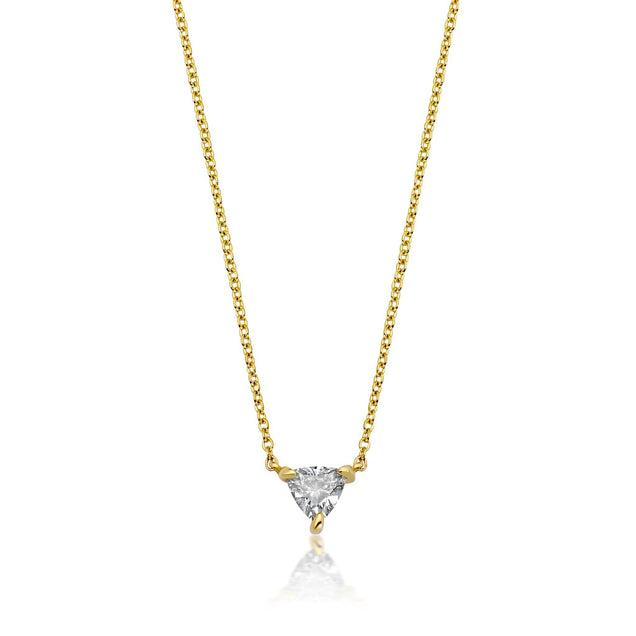 Solitaire Trillion Diamond Necklace Bespoke Jewelry Bayou with Love