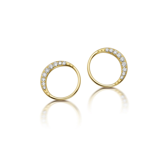 Diamond Crescent Moon Studs Jewelry Bayou with Love