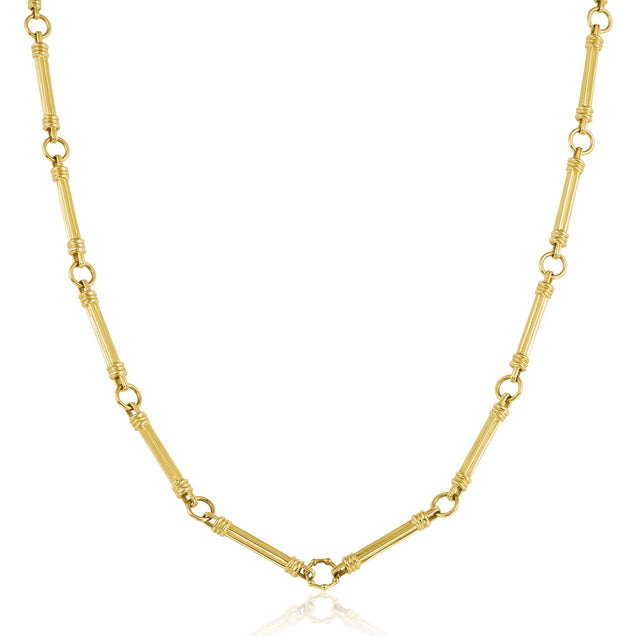 Long Gold Rattan Necklace Jewelry Bayou with Love