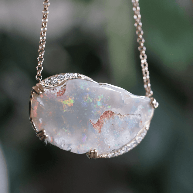 Half Moon Opal Necklace Bespoke Jewelry Bayou with Love
