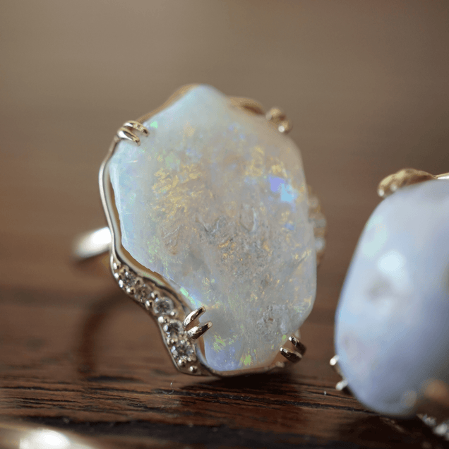 Large Opal Diamond Lunar Ring Bespoke Jewelry Bayou with Love