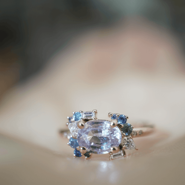 Oval Lavender Sapphire with Diamonds Bridal Jewelry Bayou with Love