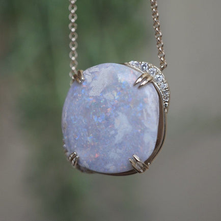 Full Moon Opal Necklace Bespoke Jewelry Bayou with Love