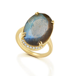 Oval Labradorite Lunar Ring Bespoke Jewelry Bayou with Love