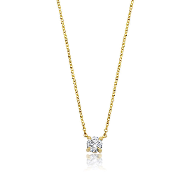 Solitaire Diamond Necklace Bespoke Jewelry Bayou with Love