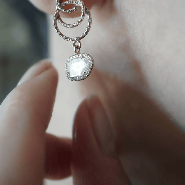 Diamond Nest Egg Drop Earrings Bespoke Jewelry Bayou with Love